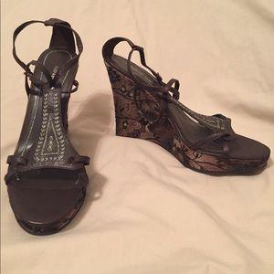 Nine West brown tapestry wedge sandals